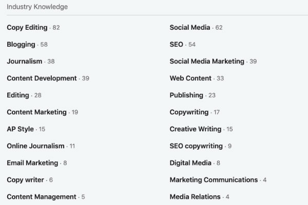 A screenshot of the Industry Knowledge section of a LinkedIn profile.