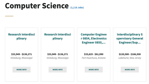 Screenshot from Cybercareers.gov that shows Featured Jobs in Computer Science