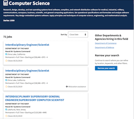 Screenshot from USAJobs.gov that shows a listing of Computer Science jobs