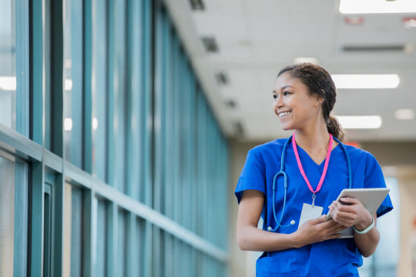 Young nurse in the hall of a hospital