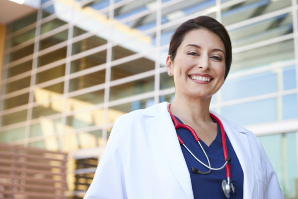 A female nurse smiling