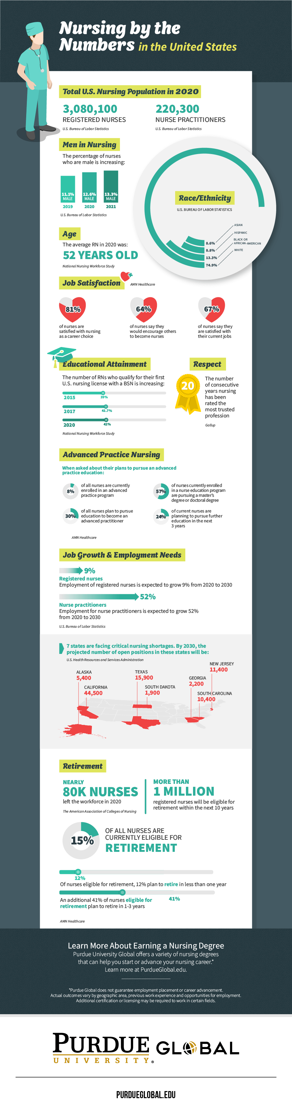 Nursing by the Numbers in the U.S. Infographic