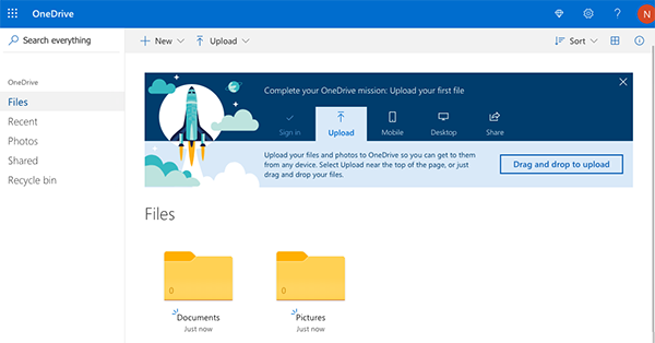 A screenshot of OneDrive