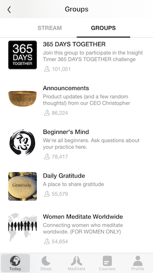 A screenshot of the different groups available within the InsightTimer app. Groups shown include a beginner's group, a place to share gratitude, and a women's group.