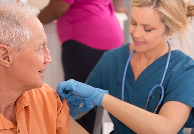 health care professional working with patient