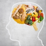 An illustration of a brain and food