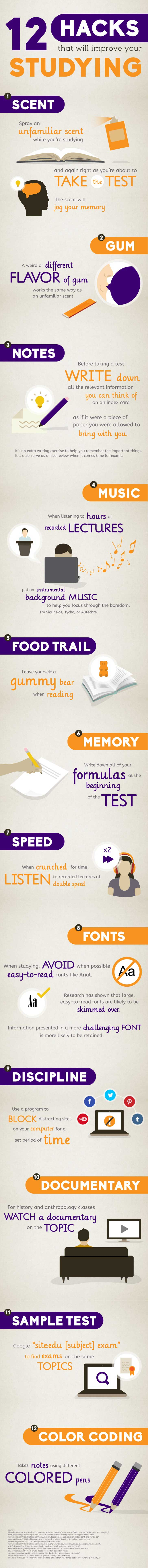 12 Unusual Study Hacks for College Students infographic