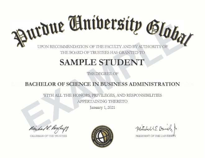 Purdue Global diploma in frame